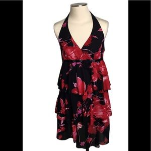Red black floral Ruffled halter top